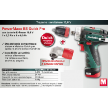 Metabo Trapano - avvitatore 10,8 V PowerMaxx BS Quick Pro